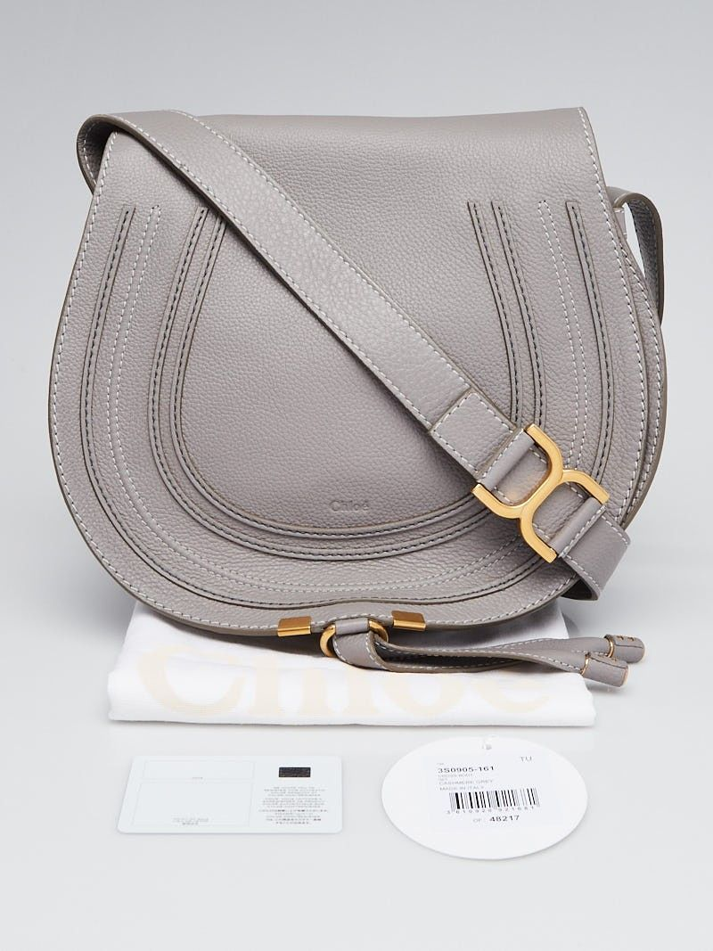 8c3ac5c28ba1e Chloe Cashmere Grey Pebbled Leather Medium Marcie Crossbody Bag - Yoogi s  Closet  crossbodybags