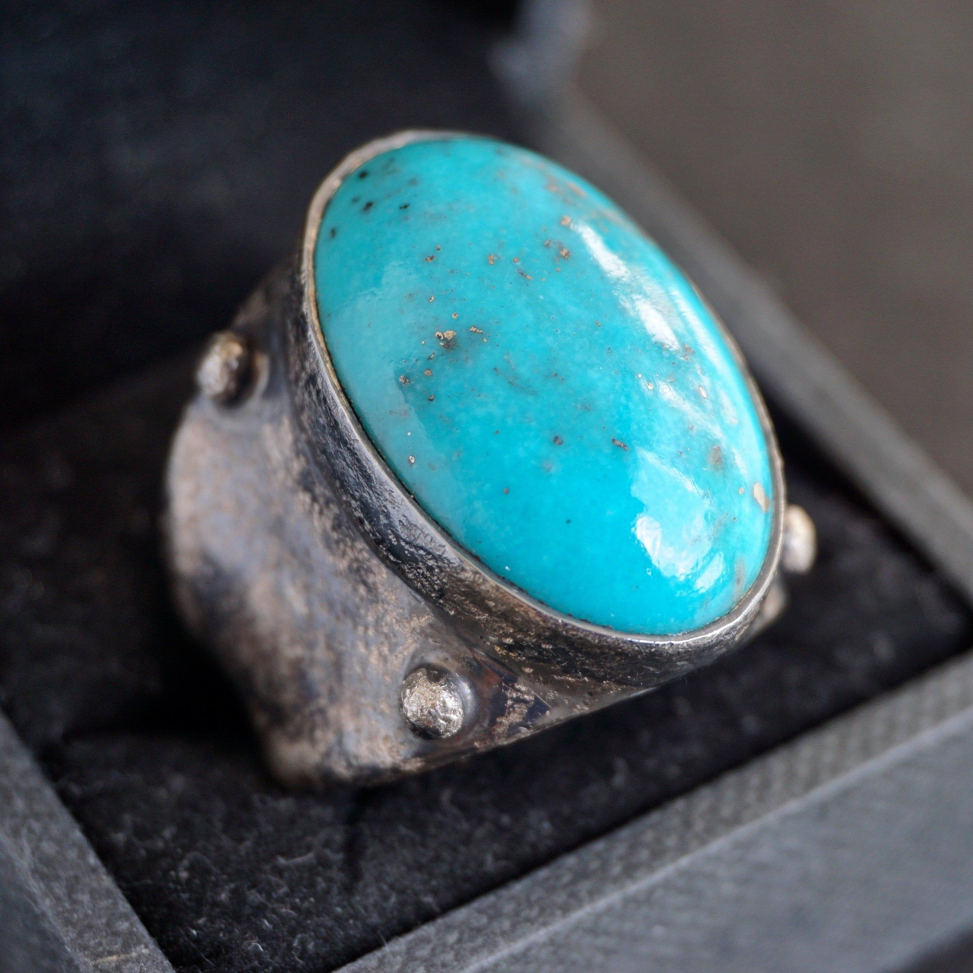925 Sterling Silver Mens Ring Blue Turquoise Firoza unique