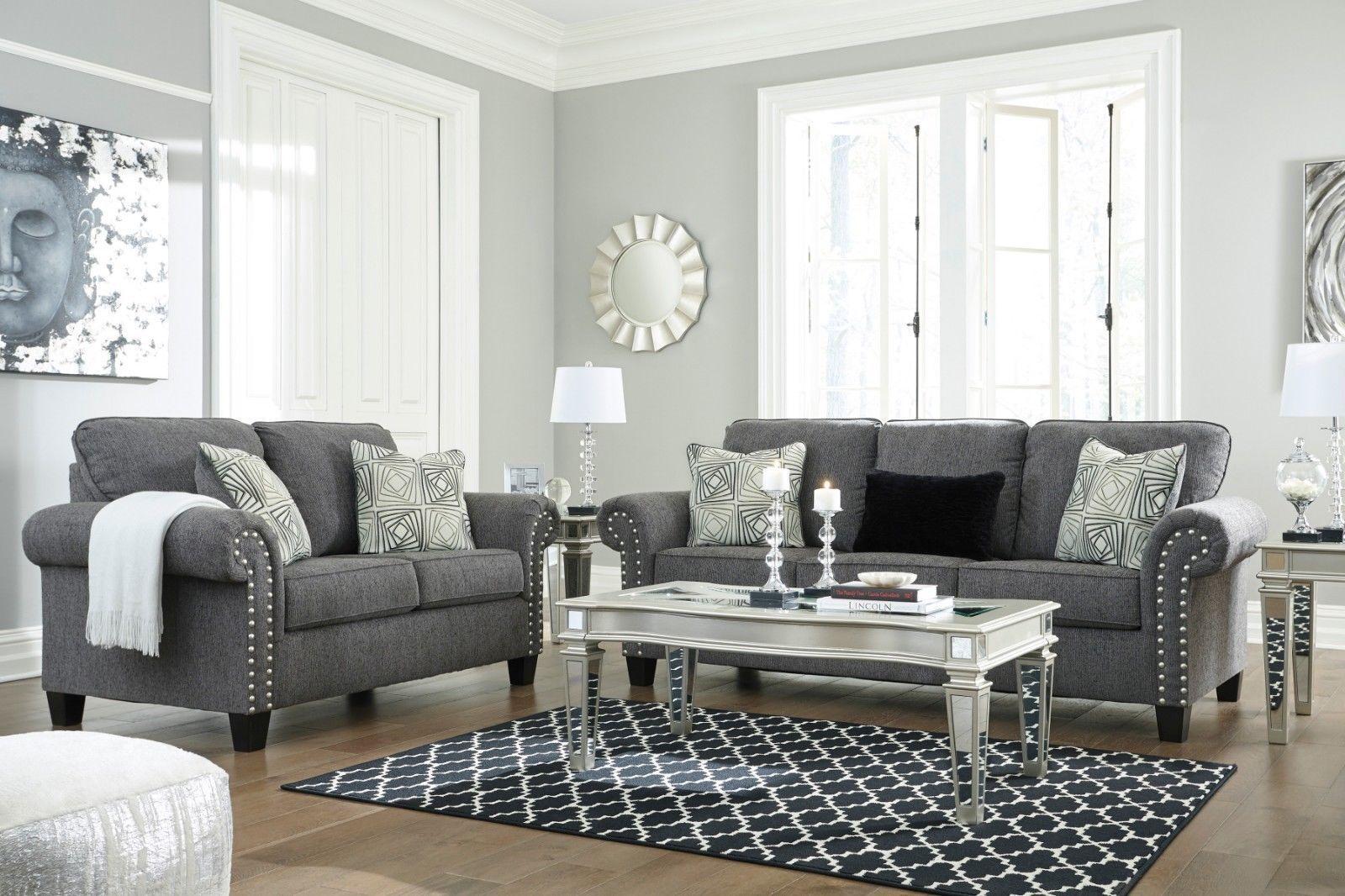 850 00 Ashley Furniture Agleno Sofa And Loveseat Living Room Set Ashley Furniture Agleno Loveseat Furniture Charcoal Living Rooms Living Room Sets