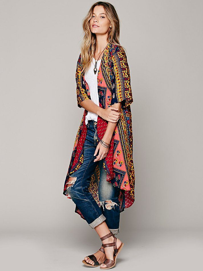264fed928c7b Free People Short Sleeve Printed Maxi Duster