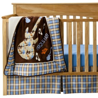 Trend Lab Rockstar 3pc Crib Bedding Set Blue Brown At