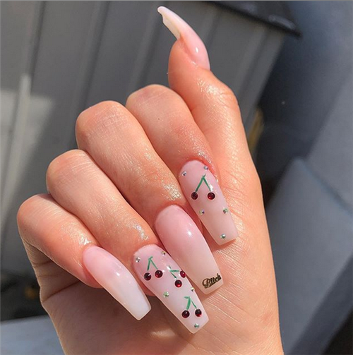 Summer Acrylic Coffin Nails Art Ideas For You Cherry Nails Pretty Acrylic Nails Best Acrylic Nails