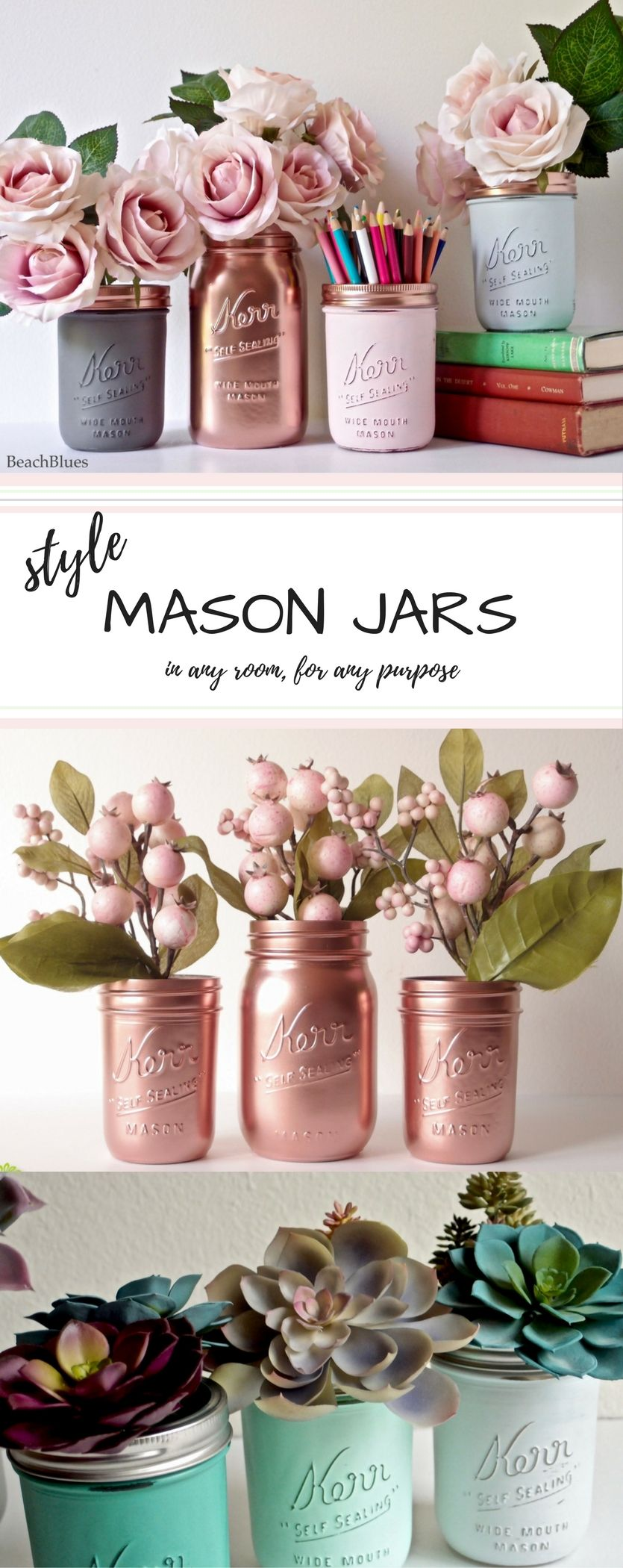 Blush dorm decor pink copper mint jade silver painted mason