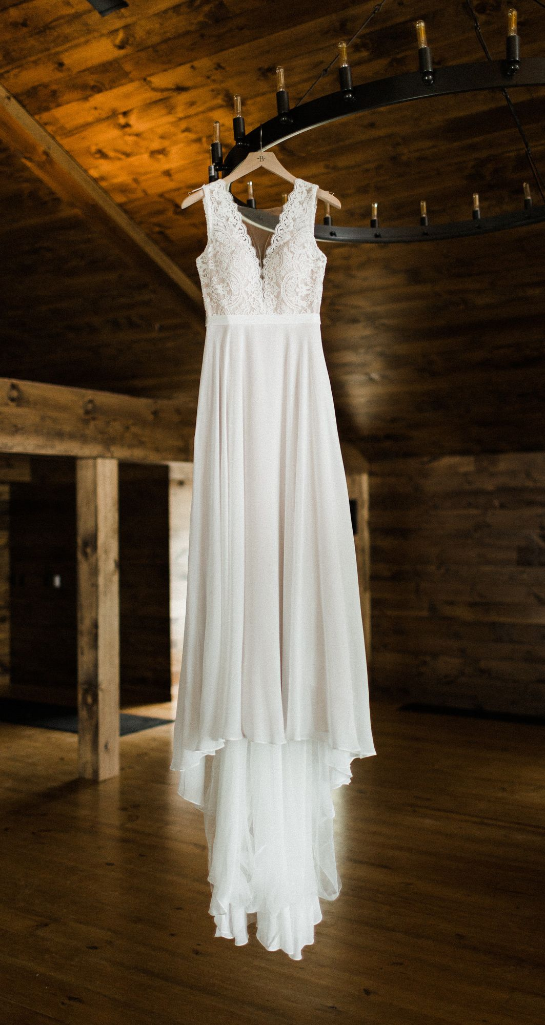 A-line Sheer Round Neckline Lace Chiffon Beach Wedding Dress OW581 #lacechiffon