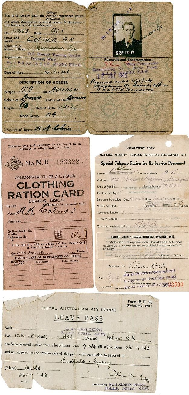 Documents From Anzac AKColmer Including War Leave Form