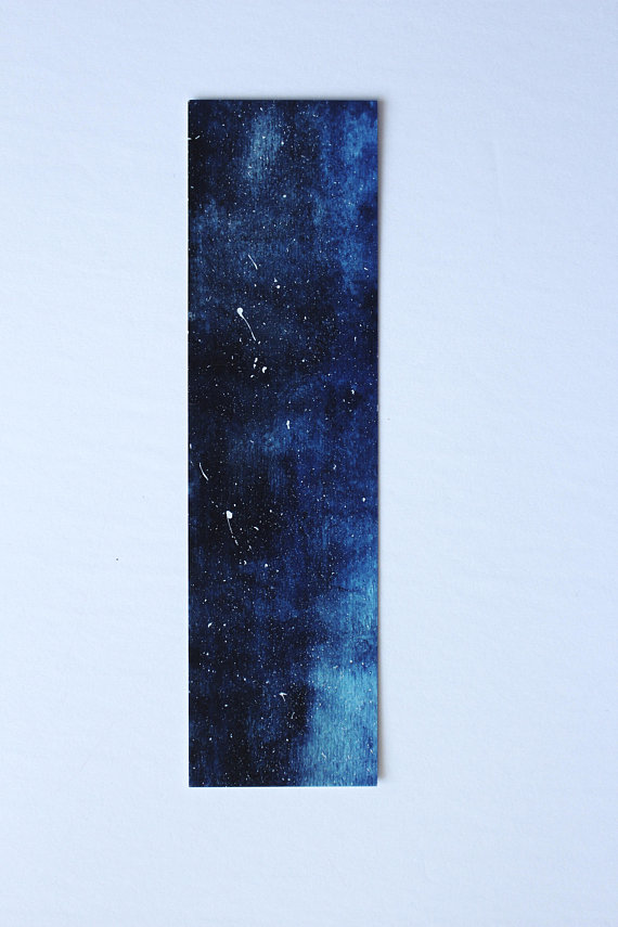 Blue Galaxy Bookmark Painting Paper Bookmarks Original