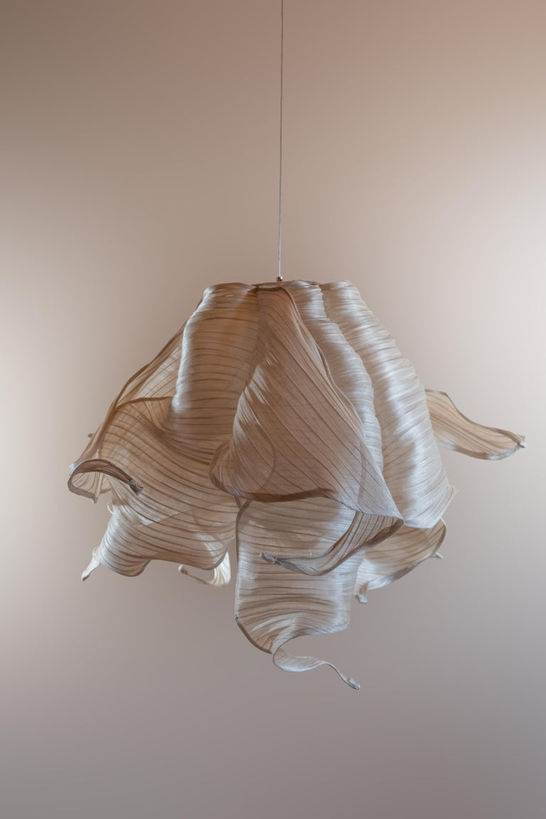 Contemporary Nebula Fabric and Wire LED Pendant Light from