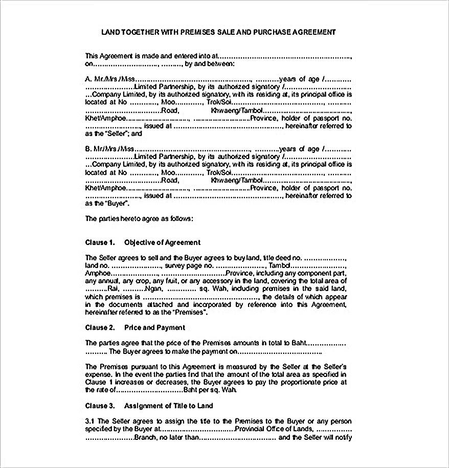 Example Land Sales Agreement Template  Reliable Sales Agreement