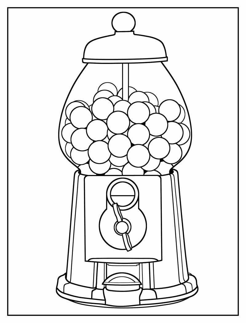 Reading Coloring Activities Beautiful Gumball Machine Coloring