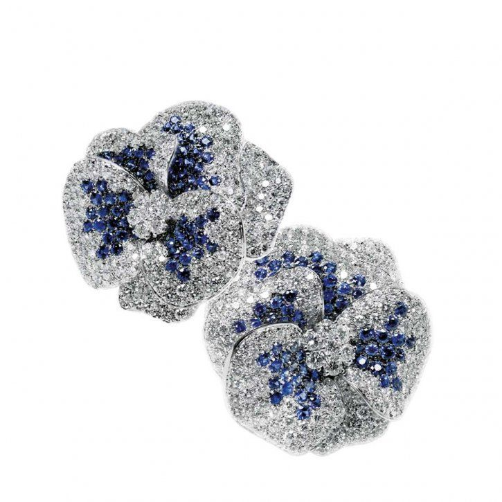 Sapphire and diamond earrings by Leo Pizzo