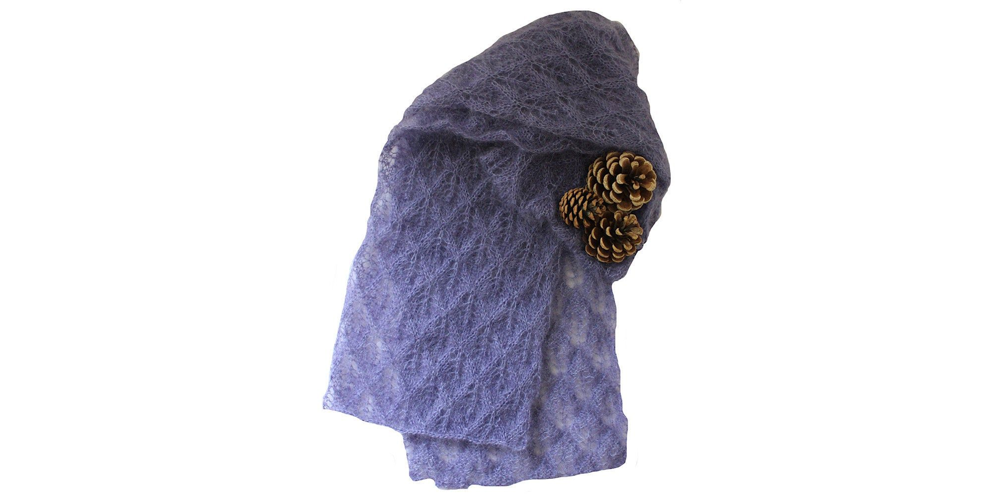 Photo of Women's knitted mohair and silk lace scarf – knitted winter lace lilac coloured scarf. Luxury Christmas gift for women