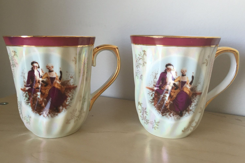 Tiger Yedi Inc. Vintage Lustreware Coffee Cups, Purple Red & White ...