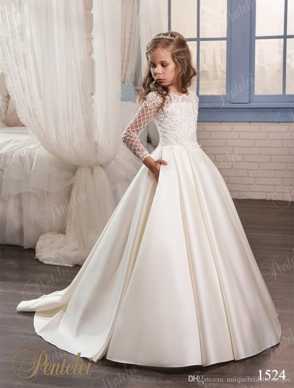 Wedding dresses for little girls pentelei cheap with long