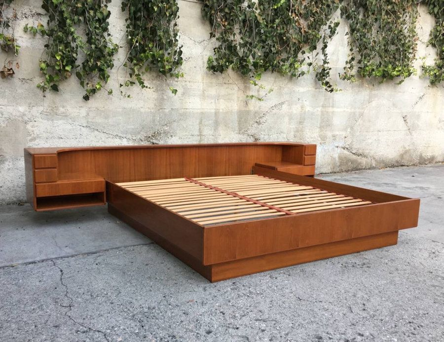Mid Century Modern King California King Teak Platform Bed By