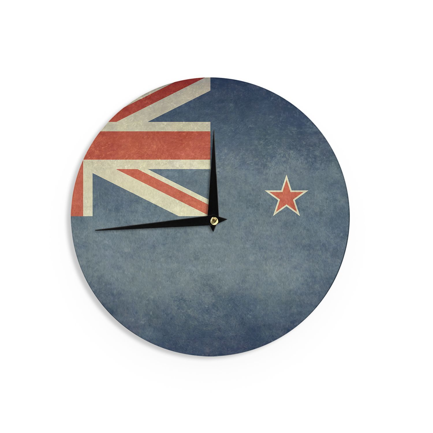 "Kess InHouse Bruce Stanfield Flag of New Zealand"" Blue Wall Clock 12"" (Flag of New Zealand) (Wood)"