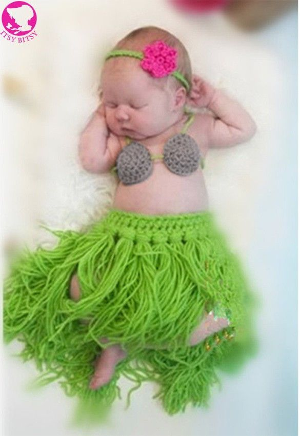 New Girl Baby Newborn Beach Hula Grass Skirt Set Crochet Knit Costume Outfit Photography Photo Props Retail  sc 1 st  Pinterest & New Girl Baby Newborn Beach Hula Grass Skirt Set Crochet Knit ...