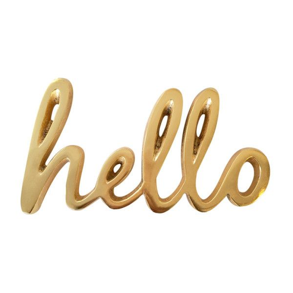 Bombay Duck Gold Hello Sign 21 Liked On Polyvore Featuring Home Home Decor Wall Art Gold Home Decor Gold Home Access Hello Sign Word Wall Art Joy Sign