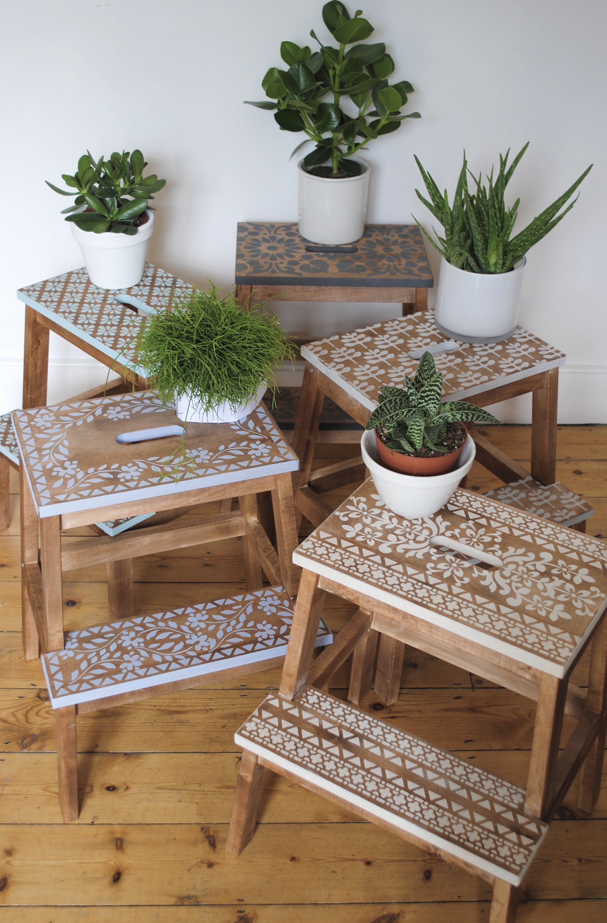 Stencilled step stools using Nicolette Tabram stencils and stencil paint. As seen in #Reloved magazine #Ikeahack #nicolettetabramstencils nicolettetabram.co.uk