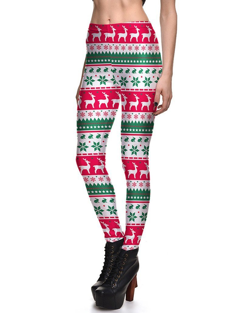 35e28af0e0a096 Striped Snowflake Reindeer Print Womens Christmas Tights Leggings ...