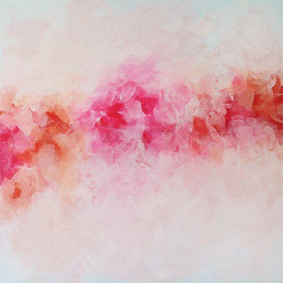 Peony Art Print, Abstract Giclee Print on Canvas, Pink ...
