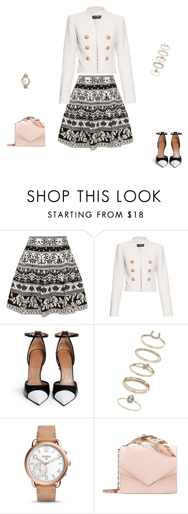 """""""Untitled #8656"""" by explorer-14576312872 ❤ liked on Polyvore featuring Alexander McQueen, Balmain, Givenchy, Miss Selfridge, FOSSIL and RALPH & RUSSO"""