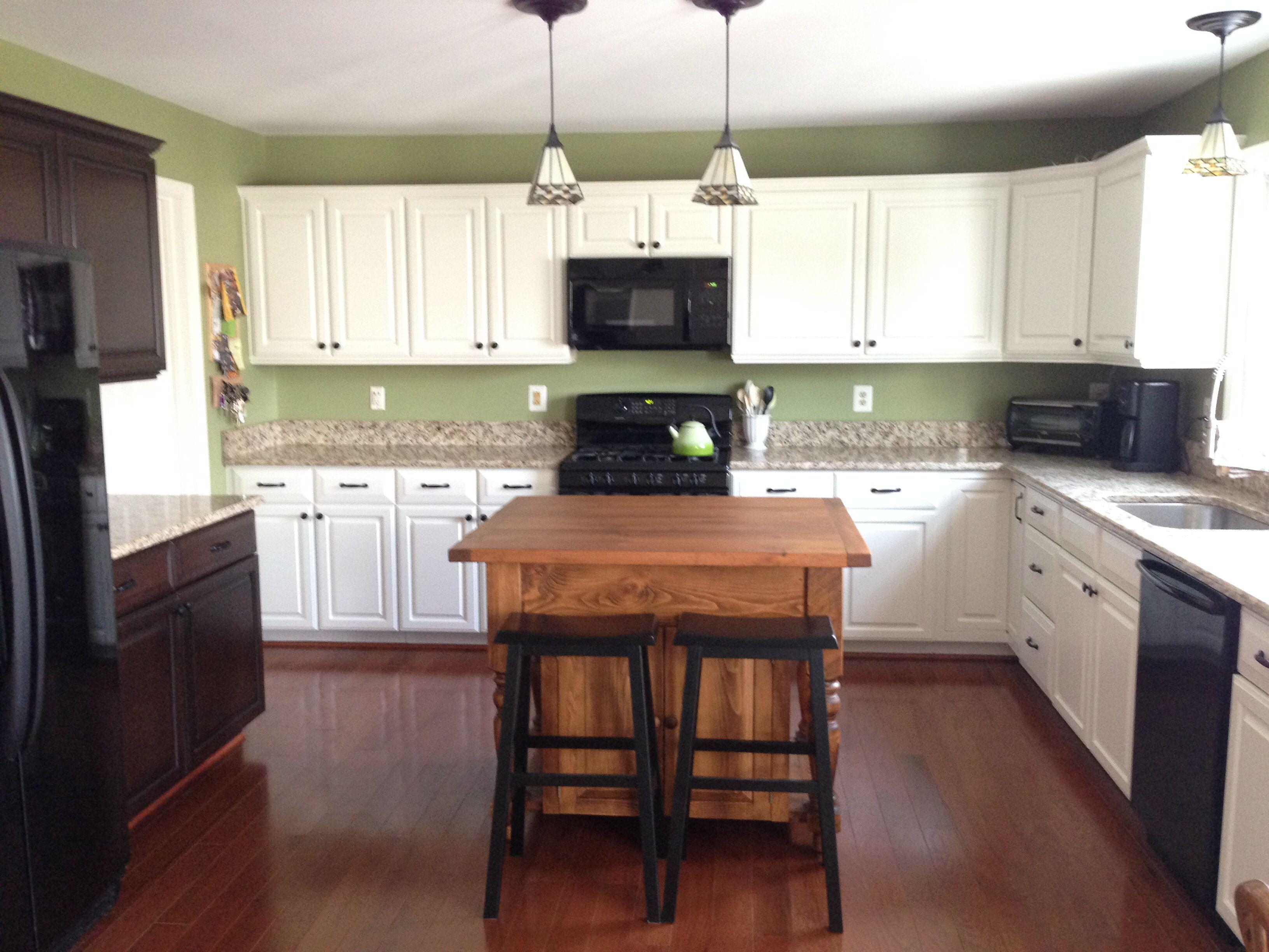 White Kitchen Espresso Island final product  my dream kitchen! white cabinets (behr swiss