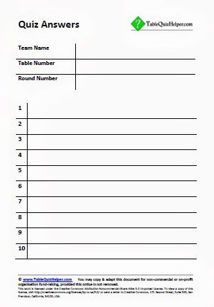 Blank answer sheets for a table or pub quiz | Trivia Night ...
