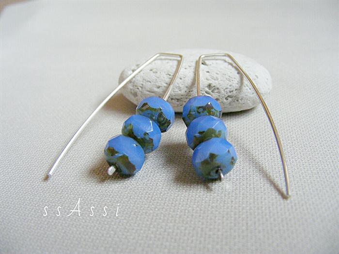 Blue Monday - ssAssi studio feature - Argentium Sterling Silver & blue Czech glass bead earrings