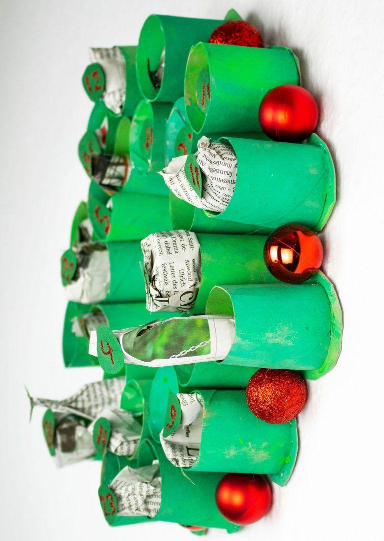 Upcycling-Adventskalender aus Klorollen basteln – Anleitung / Tutorial