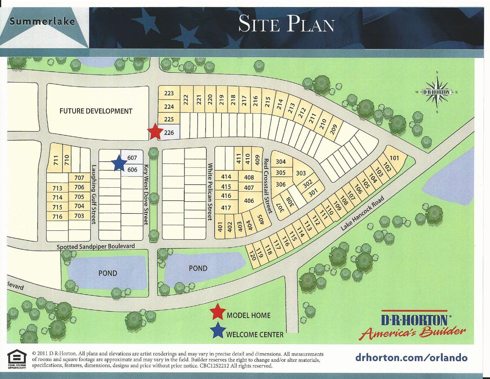 Sumerlake Dr Horton Homes Site Map In Winter Garden FL