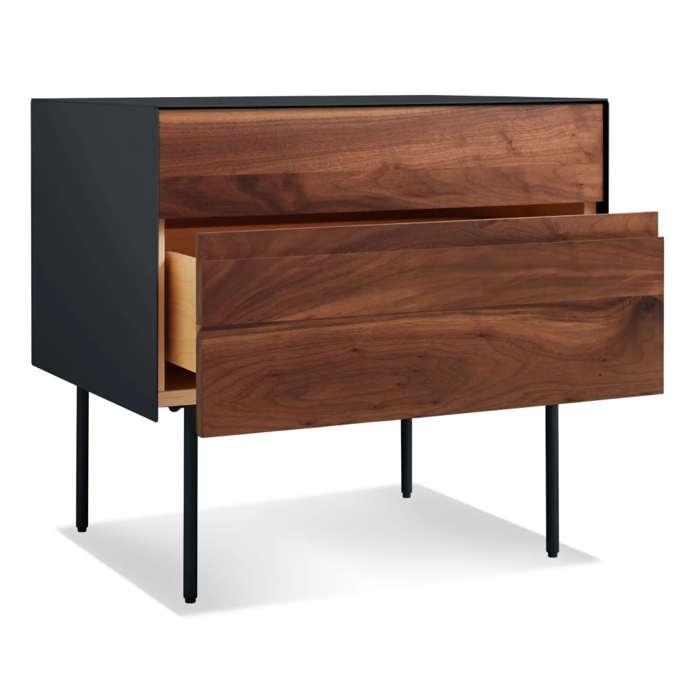 Clad Nightstand, Hickory / Oyster Bedside table design