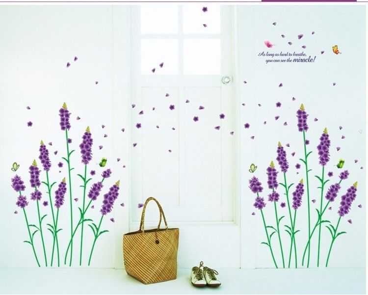 Wall Stickers Purple Lavender Romance Decoration Wall zy770 Stickers