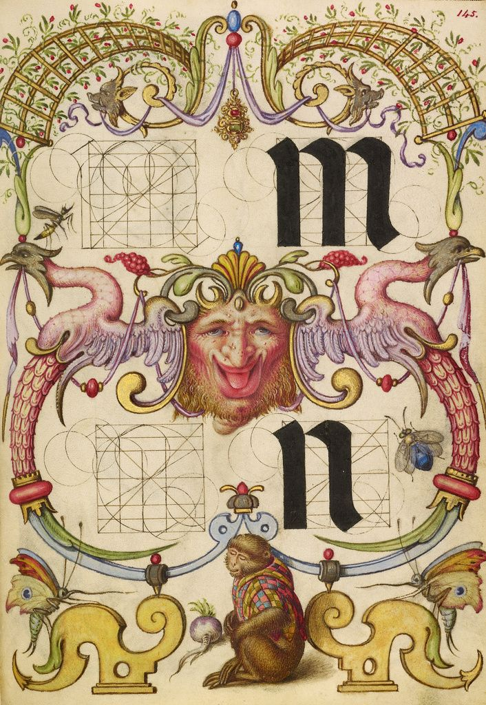 ⭐️Guide for Constructing the Letters m and n (Getty Museum). High res image from the Getty Museum.