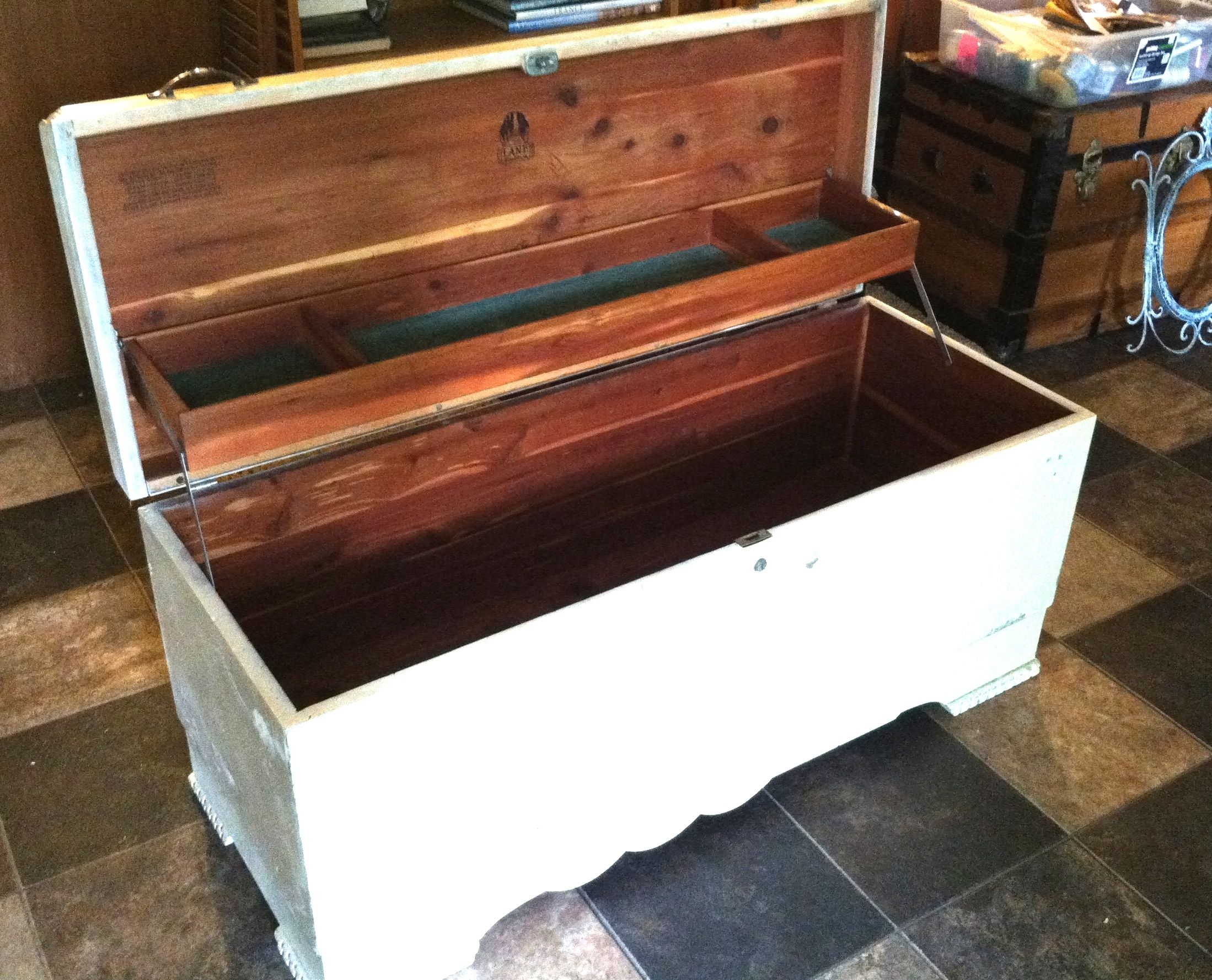 Inside Of Refinished Lane Cedar Chest.