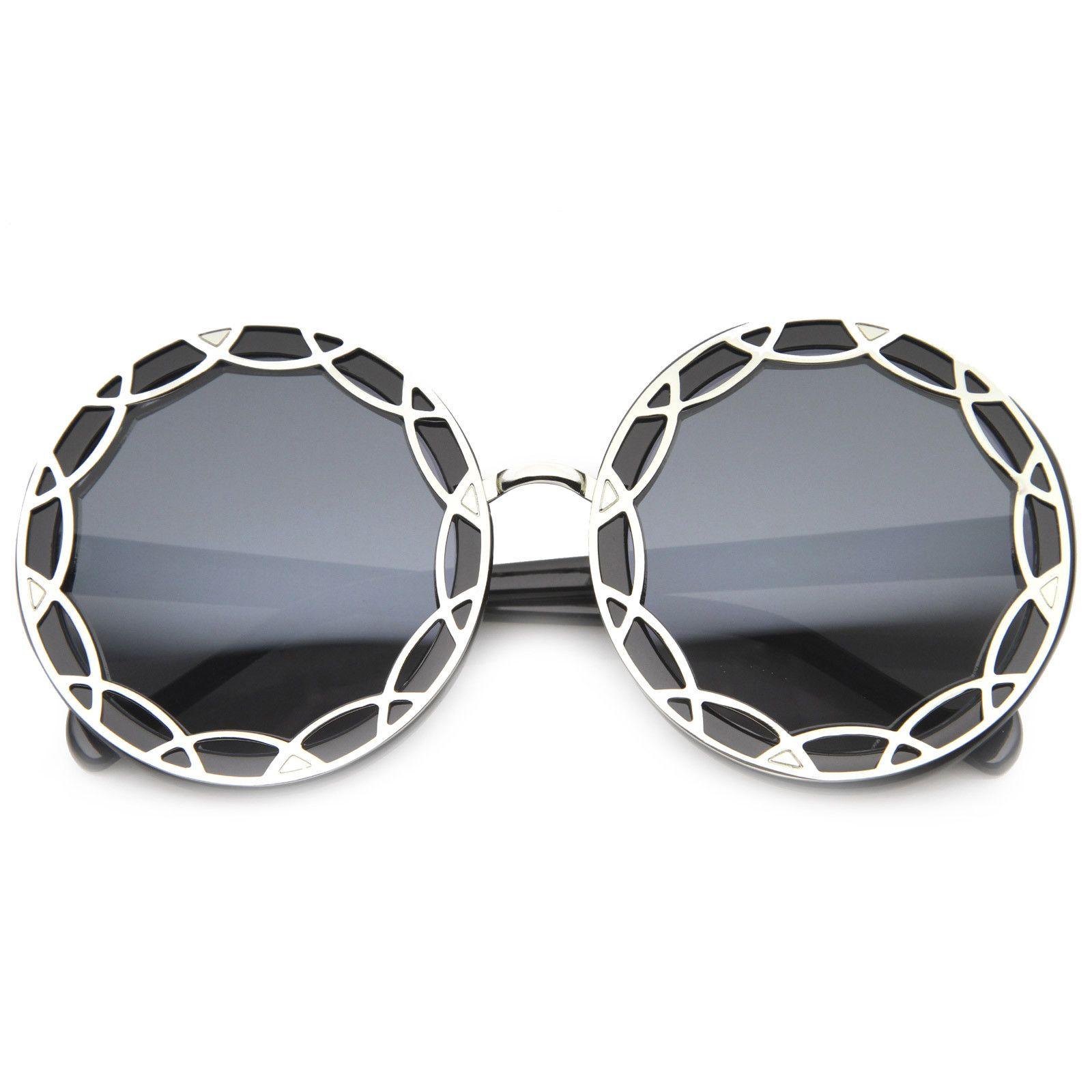 1c90dd80547c8 Art Deco Round Fashion Oversized Layered Designer Sunglasses - UV400