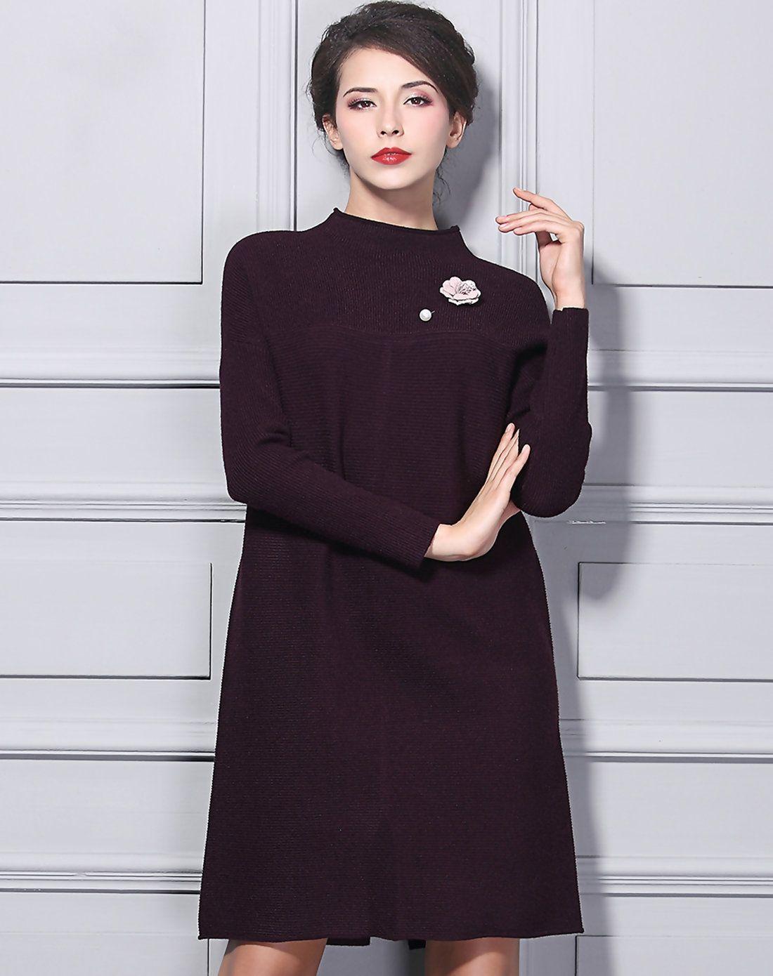 37a60d2b6294  AdoreWe BAOYAN Purple Stand Collar Shift Sweater Dress with Split -  AdoreWe.com