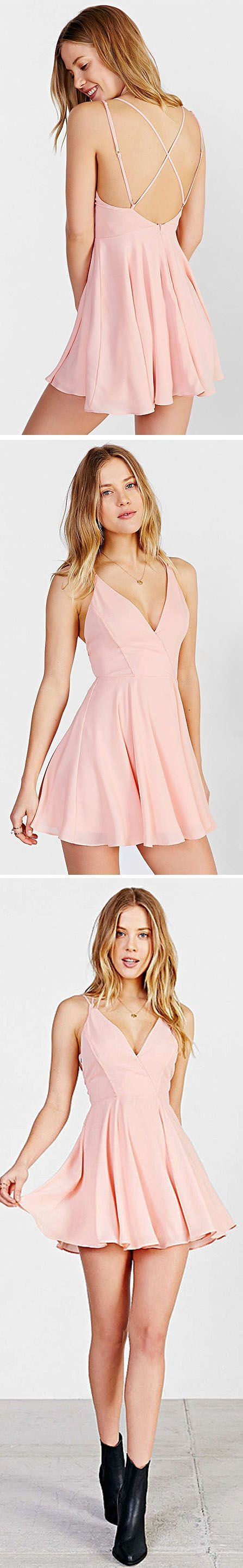 Sweet Solid, V Neck, Backless, Homecoming Dress, with boots, For Teens #shortbacklessdress
