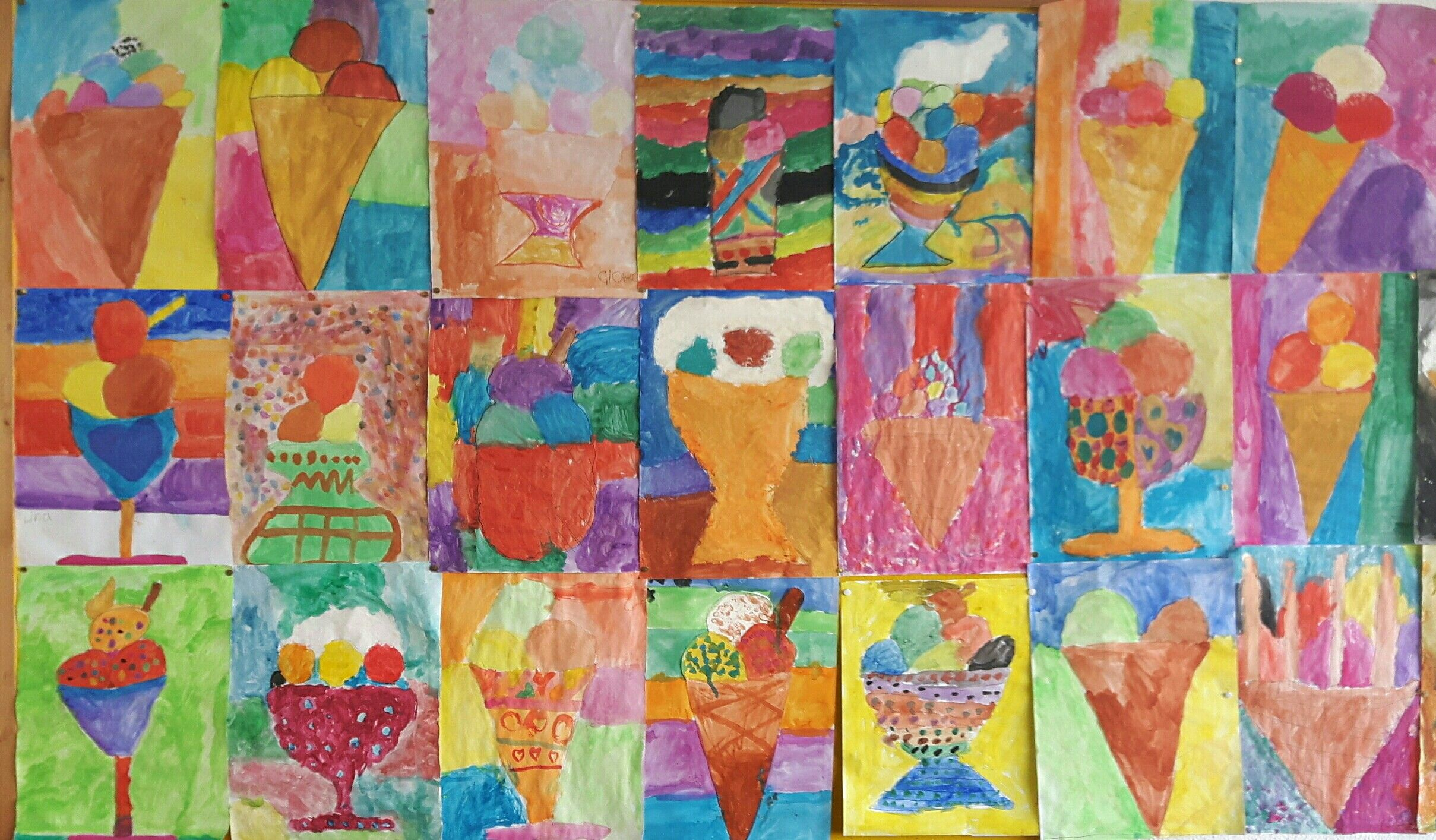 Kunstunterricht Klasse 1, Sommer, Eis - Wasserfarben ...