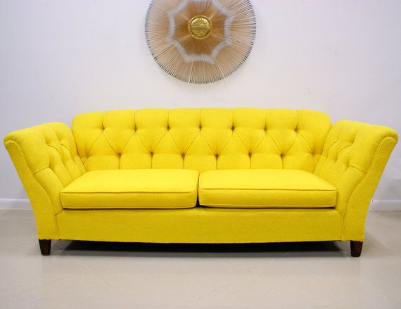 vintage sunny yellow hollywood regency sofa