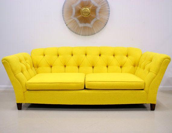 vintage sunny yellow hollywood regency sofa