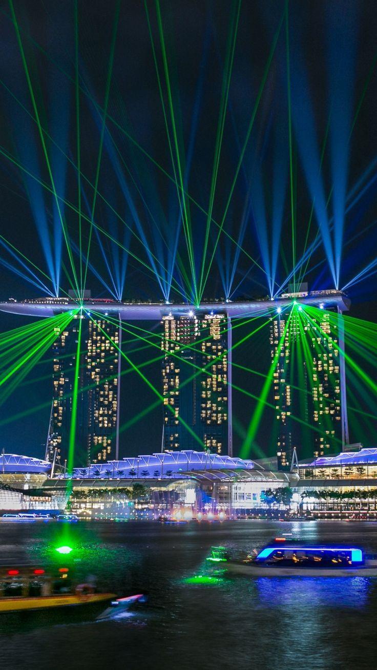 singapore marina bay sands glare night lights laser show awesome