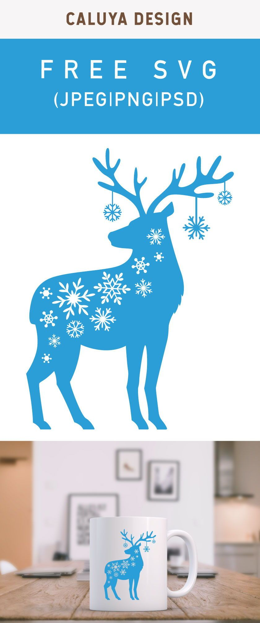 Free Snow Flake Reindeer SVG, PNG, EPS  #cricutvinylprojects