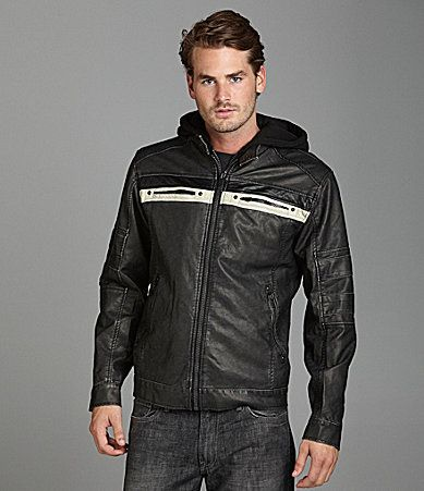 70a1af1b7b5 PX Clothing Faux Leather Jacket with Detachable Fleece Hood ...