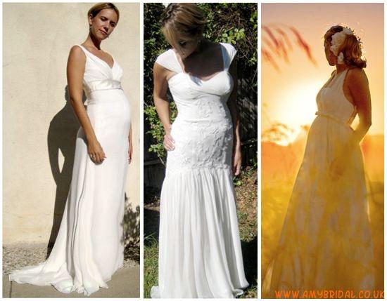 V-Neck Empire Waist Chiffon Maternity Wedding Dress   chinese food ...