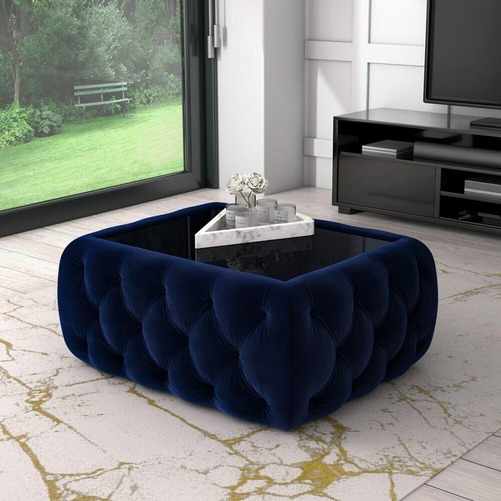 Coffee Table W Ottoman Storage Velvet Buttoned Glass Unique Designer Furniture Ebay In 2021 Living Room Sofa Design Blue Living Room Decor Living Room Decor Apartment [ 1000 x 1000 Pixel ]