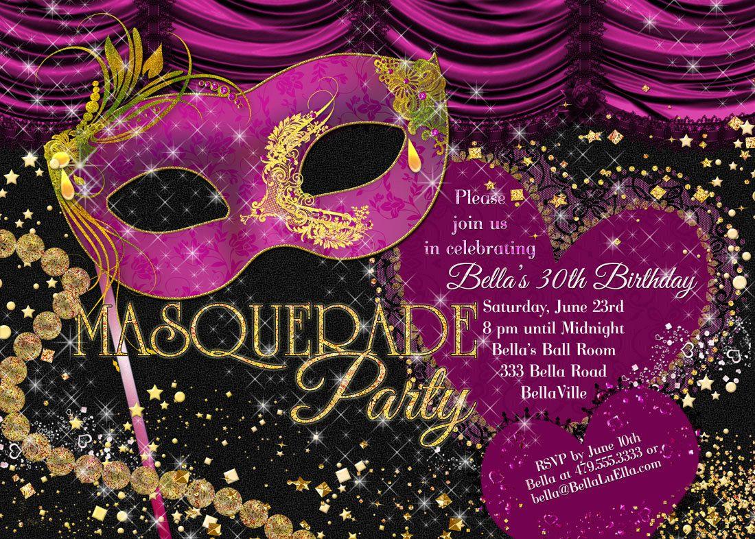 Masquerade Theme Party Invitations - Invitation Card Design ...