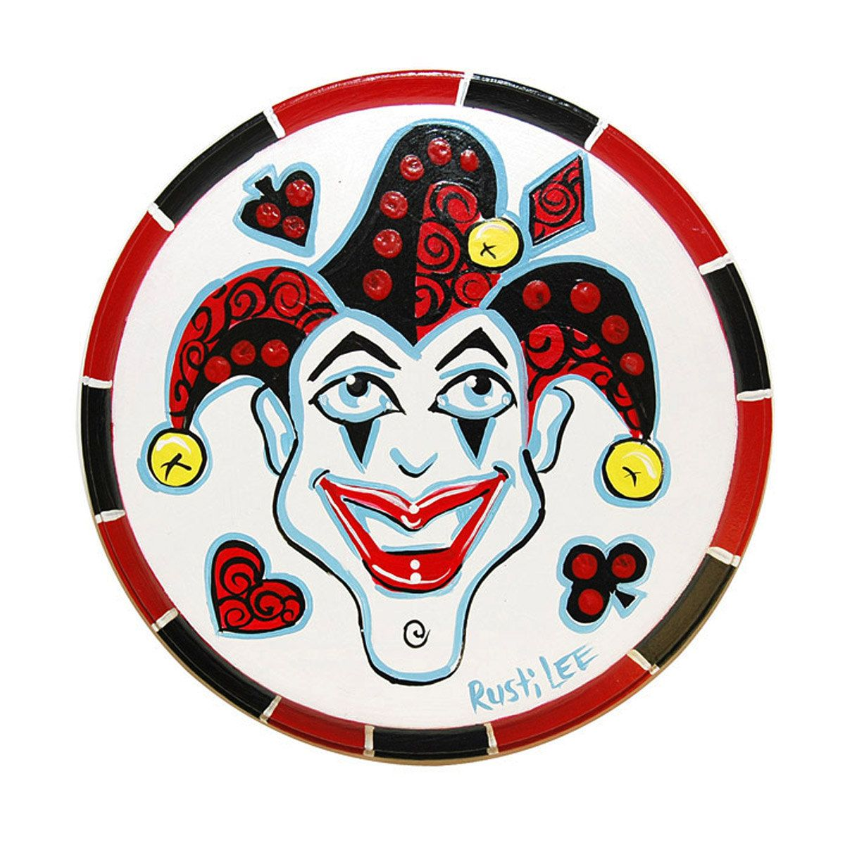 Joker poker chip round wall art card suit game room decor joker black and white joker playing card photoshop request a custom order and have something made biocorpaavc Choice Image