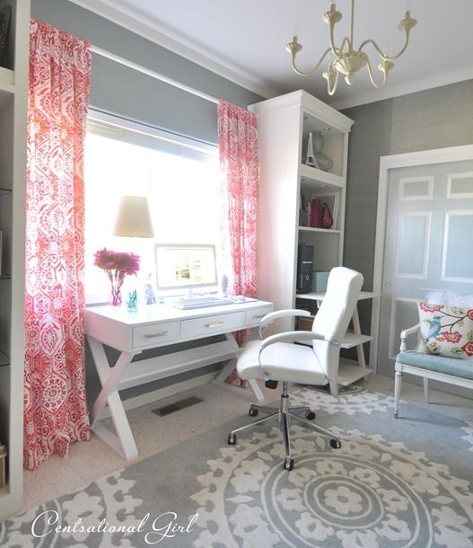 home office rug placement. love the desk and geometric print grey rug especially with pop of color on home office placement i