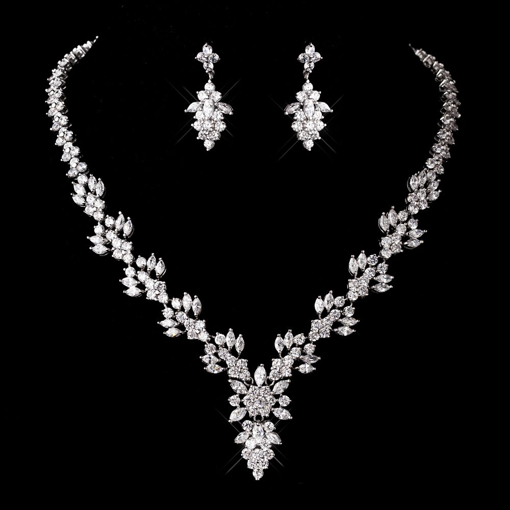 Silver #Necklace and #Earrings Set StressAwayBridalShop.com #jewellery #prom