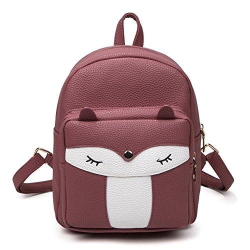 b531a3a3d4 Luckysmile Womens Fashion Collision Color Cute Fox Mini Backpack PU Leather  Backpack Purse EL885575    Check out this great product.